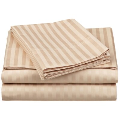 650 Thread Count Egyptian-Quality Cotton Sheet Set Color: Beige