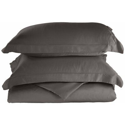 Rayon 3 Piece Reversible Duvet Cover Set Size: Full / Queen, Color: Grey