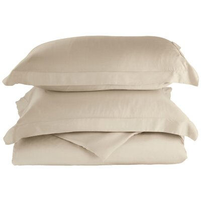 Rayon 3 Piece Reversible Duvet Cover Set Size: Full / Queen, Color: Ivory