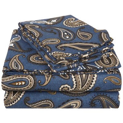 100% Cotton Flannel Sheet Set Size: King, Color: Navy Paisley