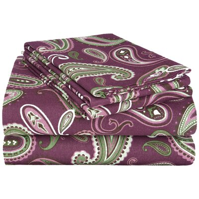 100% Cotton Flannel Sheet Set Size: King, Color: Purple Paisley