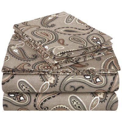 100% Cotton Flannel Sheet Set Size: California King, Color: Grey Paisley