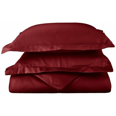 Micro Check 800 Thread Count Pillowcase Color: Burgundy, Size: Standard
