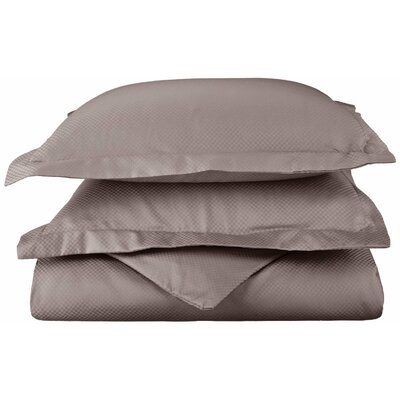 Micro Check 3 Piece Reversible Duvet Cover Set Color: Grey, Size: King/California King