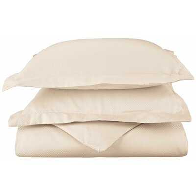 Micro Check 3 Piece Reversible Duvet Cover Set Color: Ivory, Size: King/California King