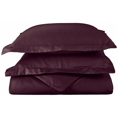 Micro Check 3 Piece Reversible Duvet Cover Set Size: Full/Queen, Color: Plum