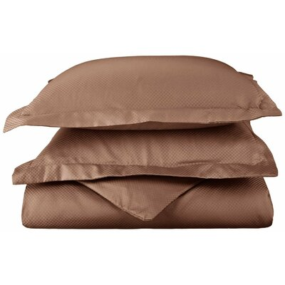Micro Check 3 Piece Reversible Duvet Cover Set Color: Taupe, Size: King/California King