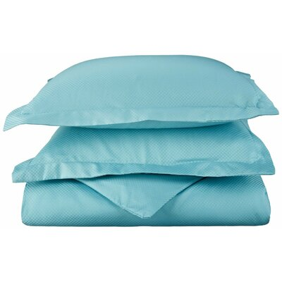 Micro Check 3 Piece Reversible Duvet Cover Set Color: Teal, Size: King/California King