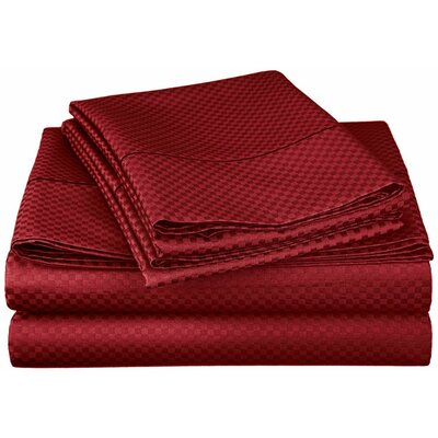 Micro Check 800 Thread Count Sheet Set Color: Burgundy, Size: Split King