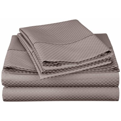 Micro Check 800 Thread Count Sheet Set Color: Grey, Size: Extra Long Twin