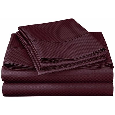 Simple Luxury Micro Check 800 Thread Count Rich Cotton Sheet Set - Color: Plum, Size: King