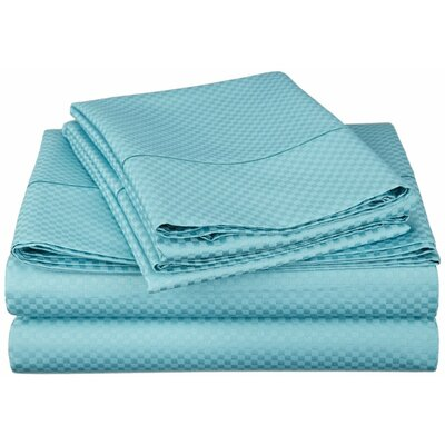 Simple Luxury Micro Check 800 Thread Count Rich Cotton Sheet Set - Color: Teal, Size: King