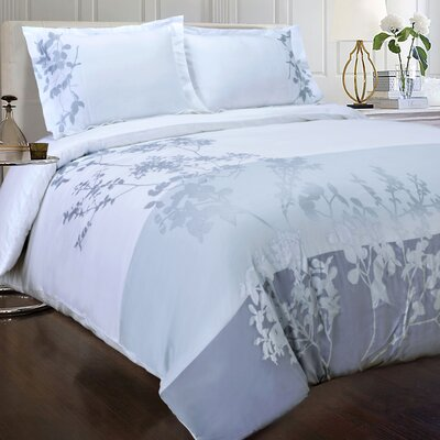 Sydney 3 Piece Embroidered Reversible Duvet Cover Set Size: King/California King