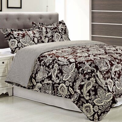 Overbrook 3 Piece Reversible Duvet Cover Set Size: King/California King