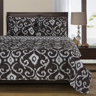 Cambridge Reversible Quilt Set Color: Brown, Size: King