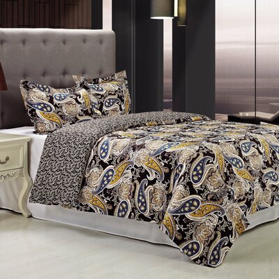 Midnight 3 Piece Reversible Duvet Cover Set Size: King/California King