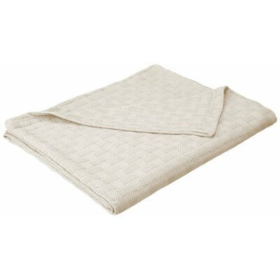 Stephen Basket Weave Cotton Blanket Color: Ivory, Size: Twin / Twin XL