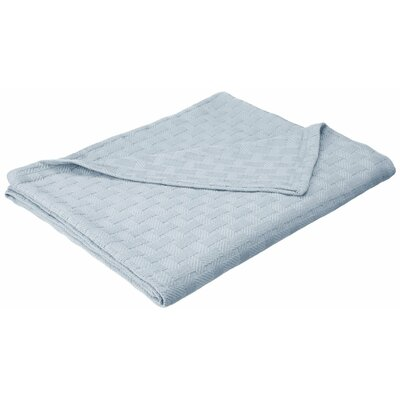 Stephen Basket Weave Cotton Blanket Color: Light Blue, Size: King