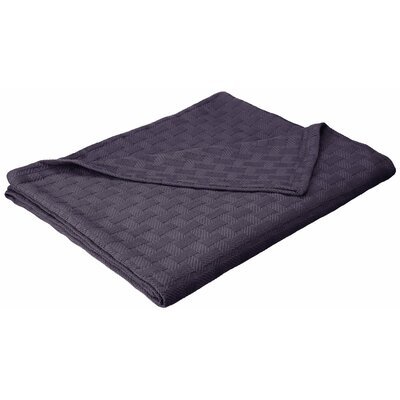 Stephen Basket Weave Cotton Blanket Color: Navy Blue, Size: King