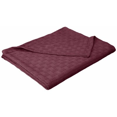 Stephen Basket Weave Cotton Blanket Color: Plum, Size: Twin / Twin XL