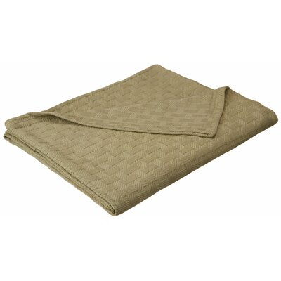 Stephen Basket Weave Cotton Blanket Color: Sage, Size: Twin / Twin XL