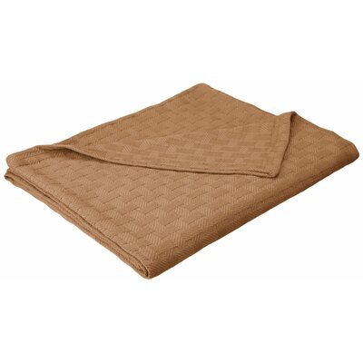 Basket Weave Cotton Blanket Color: Taupe, Size: Twin / Twin XL