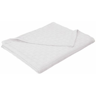 Basket Weave Cotton Blanket Color: White, Size: King