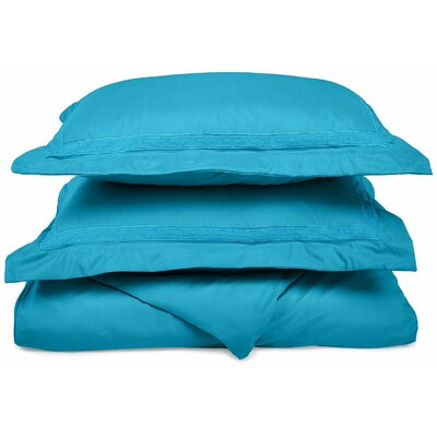 Garrick Embroidered Reversible Duvet Soft Set Color: Aqua, Size: Twin / Twin XL