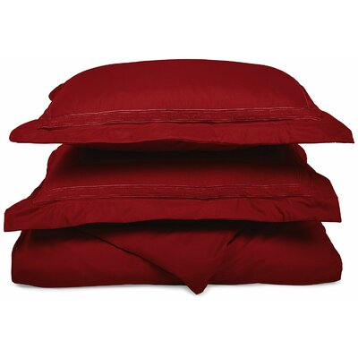 Garrick Embroidered Reversible Duvet Soft Set Size: King / California King, Color: Burgundy