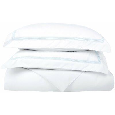 Garrick Reversible Duvet Set Color: White/Light Blue, Size: King / California King