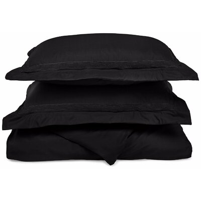 Garrick Embroidered Reversible Duvet Soft Set Size: Full / Queen, Color: Black