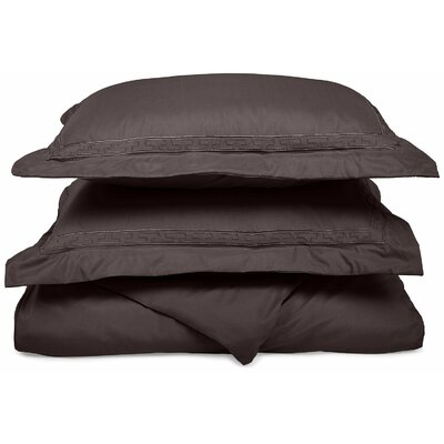 Garrick Embroidered Reversible Duvet Soft Set Size: King / California King, Color: Charcoal