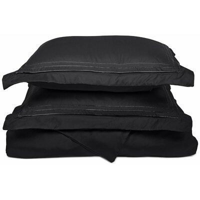Heritage 3000 Series Embroidered Reversible Duvet Set Color: Black, Size: King / California King