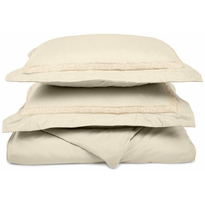 Garrick Embroidered Reversible Duvet Soft Set Color: Ivory, Size: Full / Queen