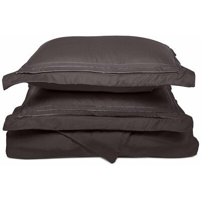 Heritage 3000 Series Embroidered Reversible Duvet Set Color: Charcoal, Size: King / California King