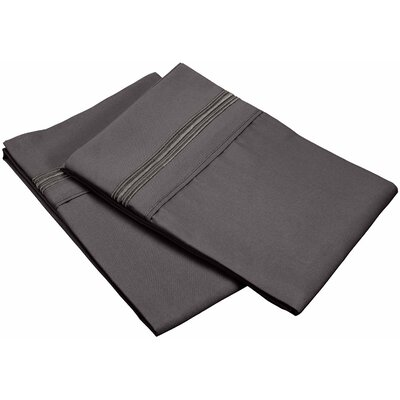 Garrick 3000 Series Solid 5-Line Embroidery Pillowcase Size: Standard, Color: Charcoal