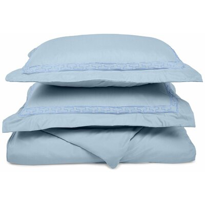 Garrick Embroidered Reversible Duvet Soft Set Size: Twin / Twin XL, Color: Light Blue