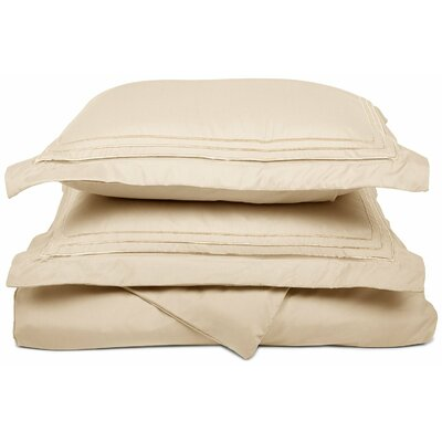 Heritage 3000 Series Embroidered Reversible Duvet Set Color: Ivory, Size: Full / Queen