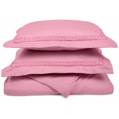 Garrick Embroidered Reversible Duvet Soft Set Size: King / California King, Color: Pink