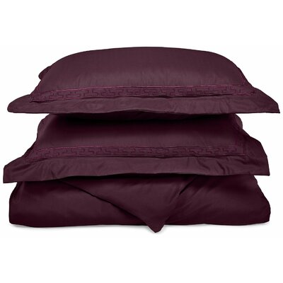 Garrick Embroidered Reversible Duvet Soft Set Size: King / California King, Color: Plum
