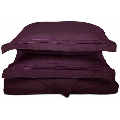 Heritage 3000 Series Embroidered Reversible Duvet Set Color: Plum, Size: Full / Queen