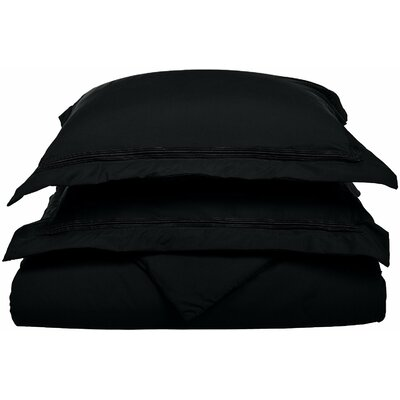 Garrick Reversible Duvet Set Size: Full / Queen, Color: Black