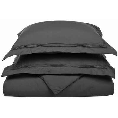 Garrick Reversible Duvet Set Color: Charcoal, Size: King / California King