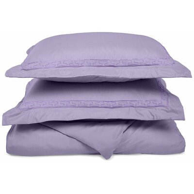 Garrick Embroidered Reversible Duvet Soft Set Color: Lilac, Size: Full / Queen