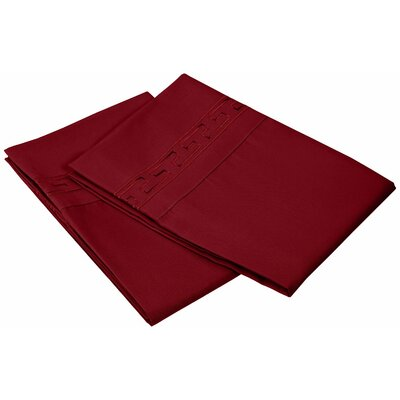 Garrick 3000 Series Solid Regal Embroidery Pillowcase Size: King, Color: Burgundy