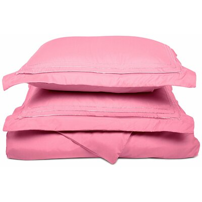 Heritage 3000 Series Embroidered Reversible Duvet Set Color: Pink, Size: Full / Queen