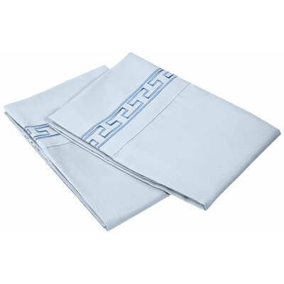 Garrick 3000 Series Solid Regal Embroidery Pillowcase Size: Standard, Color: Light Blue