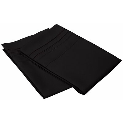 Miloe 3000 Series Solid-3 Line Embroidery Pillowcase Size: King, Color: Black