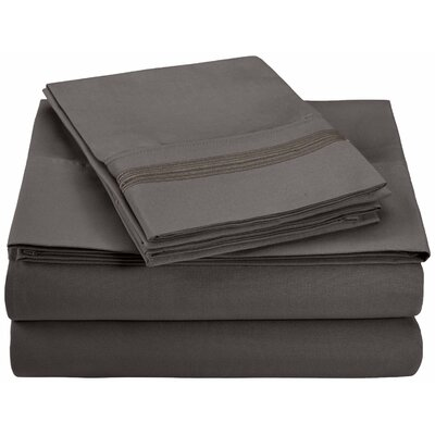 Garrick Microfiber Sheet Set Color: Charcoal, Size: Twin