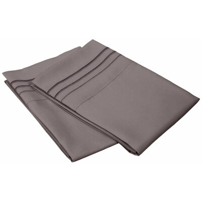 Miloe 3000 Series Solid-3 Line Embroidery Pillowcase Size: Standard, Color: Charcoal